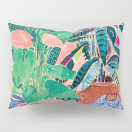 Jungle of House Plants Blush Still Life Painting with Blue Lion Figurine Pillow Sham