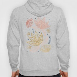 Bohemian Florals in Blue + Coral Hoody