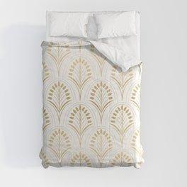 Golden abstract flowers Comforters
