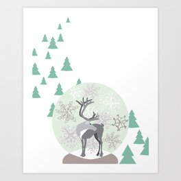 Reindeer Snowglobe Art Print