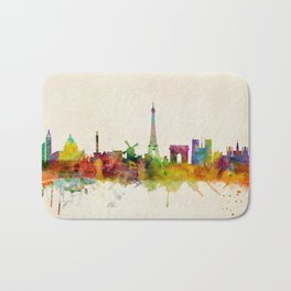 Paris Skyline Watercolor Bath Mat