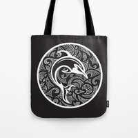 maori Tote Bags featuring Black Maori Dolphin by freebornline