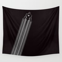 iron man Wall Tapestries featuring IRON MAN by MISTER BLACKWHITE