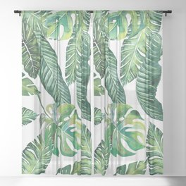 Jungle Leaves, Banana, Monstera #society6 Sheer Curtain