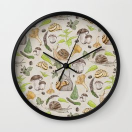 Woodland Snail in Watercolor Fungi Forest, Moss Green and Ochre Earth Animal Pattern Wall Clock