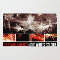 winter soldier Area & Throw Rugs featuring Captain America: The Winter Soldier by Joshua Rayfield [Spyder Acidburn]