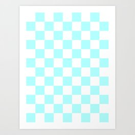 Checkered - White and Celeste Cyan Art Print