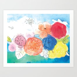 Watercolor and Ink Floral Bouquet Art Print