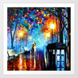 STARRY NIGHT TARDIS Art Print