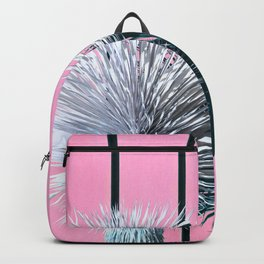 Yucca Plant in Front of Striped Pink Wall Backpack