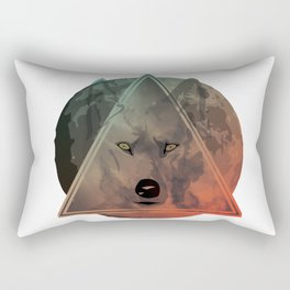 Wolf Galaxy (Green) Rectangular Pillow