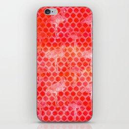 Watercolor Pink Flamingo Tropical Geometric Pattern iPhone Skin