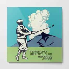 Japanese Golfer Vintage Matchbox Label Poster Metal Print