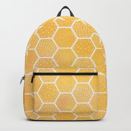 Yellow Honeycomb Pattern Backpack