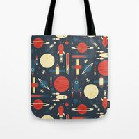 stickers Tote Bags featuring Space Odyssey by Tracie Andrews