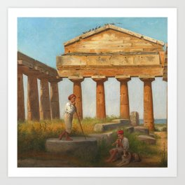 The Temple of Ceres at Paestum by Constantin Hansen, 1875 Art Print