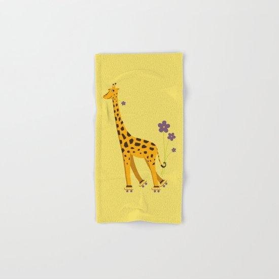 Yellow Funny Roller Skating Giraffe Hand & Bath Towel