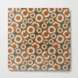 Overlapping Circles in Burnt Orange, Teal and Tan Metal Print