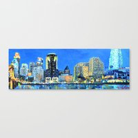 cincinnati Canvas Prints featuring Cincinnati Skyline by Emily Dwan