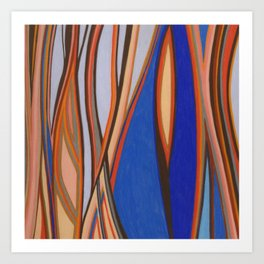 Retro Blues Browns Oranges Line Design with Pastels by annmariescreations Art Print