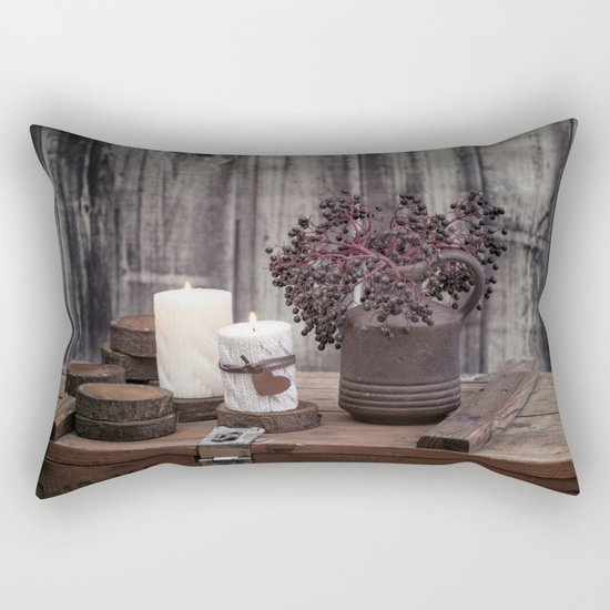Autumn Still Life with berries and candles Rectangular Pillow