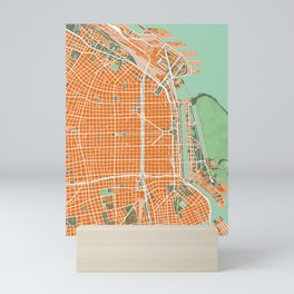 Buenos Aires city map orange Mini Art Print