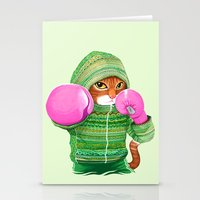 boxing Stationery Cards featuring BOXING CAT 4 by Tummeow