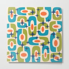 Mid Century Modern Cosmic Abstract 124 Olive Cyan Orange and Blue Metal Print