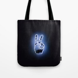 Peace Sign Hand Neon Sign Tote Bag