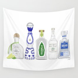 Tequila Bottles Illustration Wall Tapestry