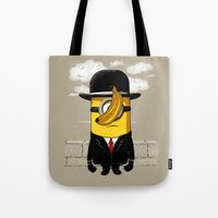 magritte Tote Bags featuring Magritte banana by le.duc