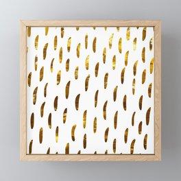 Elegant gold yellow geometrical brushstrokes pattern Framed Mini Art Print