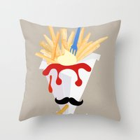 fries Throw Pillows featuring French Fries by Elisandra