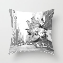 Black and White Selfie Giraffe in NYC Throw Pillow