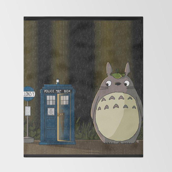 Allons-y Totoro alternate Throw Blanket