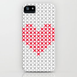 Pink Heart Embroidery Print iPhone Case