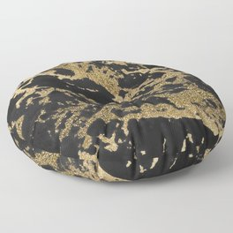 Modern faux gold glitter black marble Floor Pillow