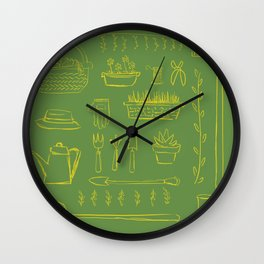 Gardening and Farming! - illustration pattern Wall Clock