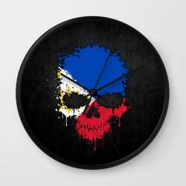 Flag of Philippines on a Chaotic Splatter Skull Wall Clock