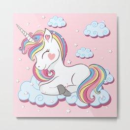 Cute unicorn illustration. Metal Print