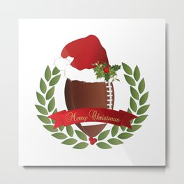 Football Christmas Design Metal Print