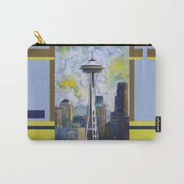 """Seattle Washington Fine Art Watercolor Painting """"Seattle Space Needle"""" Carry-All Pouch"""