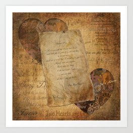 Two Hearts are One - Vintage Romantic Steampunk Art Art Print