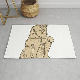 Man With Beard Sitting Thinking Drawing Rug