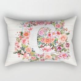 Initial Letter C Watercolor Flower Rectangular Pillow