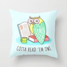 Reading Owl Throw Pillow