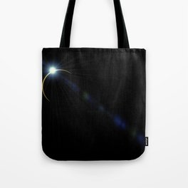 blue eclipse lens flare with flashlight Tote Bag