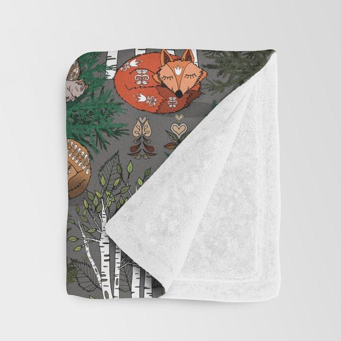 Sleepy Scandinavian Forest Throw Blanket