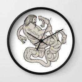 Hercules Fighting  Lernaean Hydra  Drawing Wall Clock