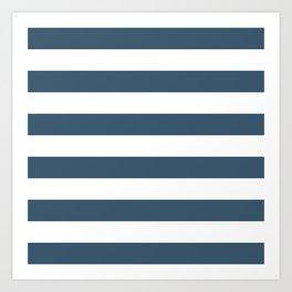 Dusky Blue Horizontal Stripes Pattern Art Print